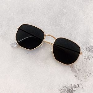 Black Hexagonal Gold Rimmed Sunglasses